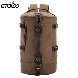 Large Capacity Man Travel Bag Mountaineering Backpack Men Bags Canvas Bucket Shoulder Backpack 012 - thefashionique