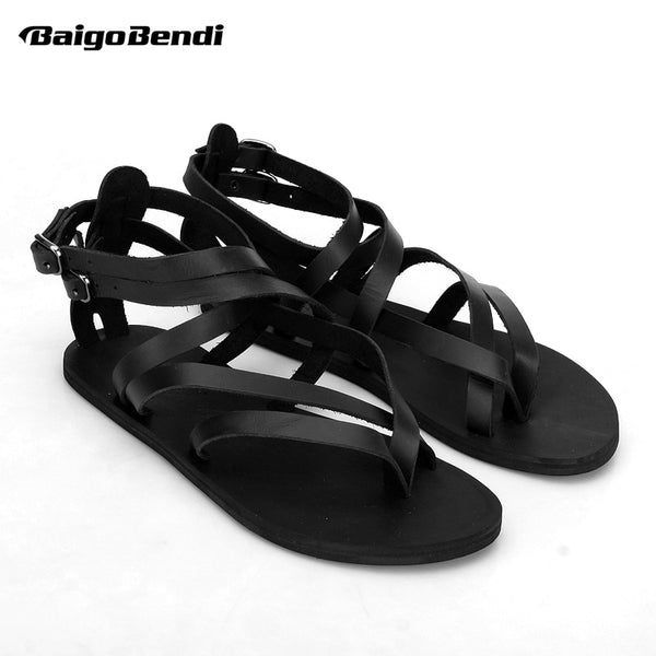 Large Size 45 Narrow Band Sandals Men Real Leather Cross-tied Summer Shoes Man Flip Flop Sandals Rome Gladiator Shoes - thefashionique