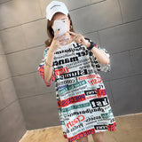 Large Size T Shirt Dress 2020 Spring Summer New Mid Length Trend Letters Printing Short Sleeved Round Neck T-Shirt Dresses Women