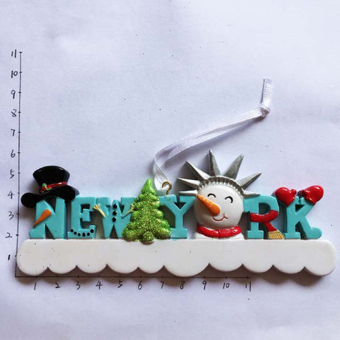 Large US New York Christmas snowman paragraph travel souvenir magnets refrigerator stickers decoration - thefashionique