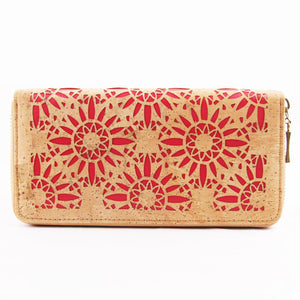 Laser Cut Red Floral Natural Cork Wallet Gift Women Wallet for Vegan