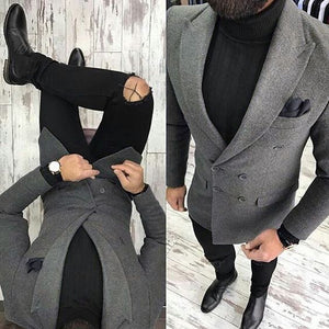 Latest Coat Designs Grey Tweed Men only Jacket Slim Fit Double Breasted Blazer Custom Groom Fashion Prom Suits Terno Masculino - thefashionique