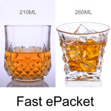 Lead-Free Crystal Glass Whiskey Beer Mug Mouthwash Diamond Base Round Cup - thefashionique