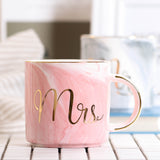 Lekoch Ceramic Mug Bone China Cup Grey Pink Colors Mr and Mrs Travel Mug Marble Pattern Phnom Penh Tea Milk Cups and Mugs Gifts - thefashionique