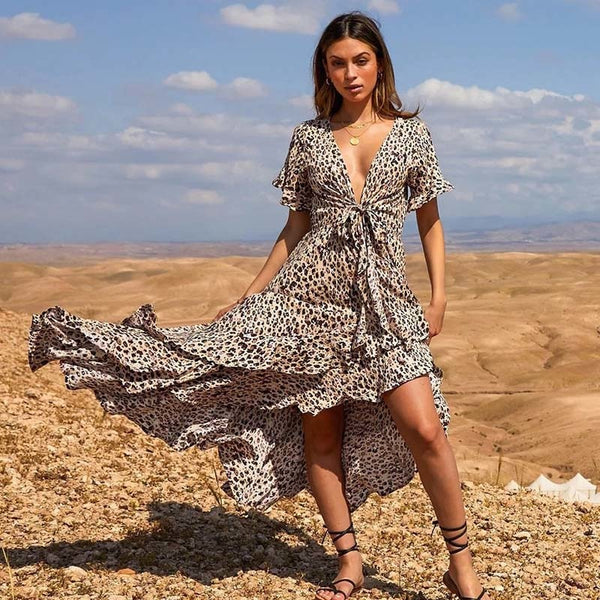 Leopard Print Womens Dresses Sexy Long Dress Bandage Party Casual Dress Women V-Neck Beach Dresses Summer 2019 Bow Vestido Festa - thefashionique