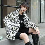 Letter Glossy down Jacket Women Short Disposable White Duck down New Autumn