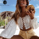 Lily Rosie Girl 2019 White Lace Sexy Blouse Off Shoulder Beach Summer Crop Top Hollow Out Female Blusa - thefashionique