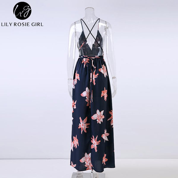 Lily Rosie Girl Boho V Neck Backless Women Long Dress Chiffon Split Floral Print Summer Dresses Sleeveless Beach Maxi Vestidos - thefashionique