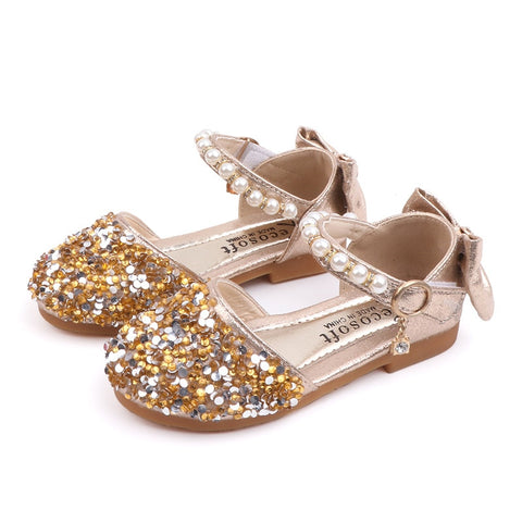 Little Girls Summer Glitter Sandals 2019 Bow Princess Dress Shoes Flat Beach Toddler Sandals Big Kids 1 2 3 4 5 6 9 10 11 Year - thefashionique