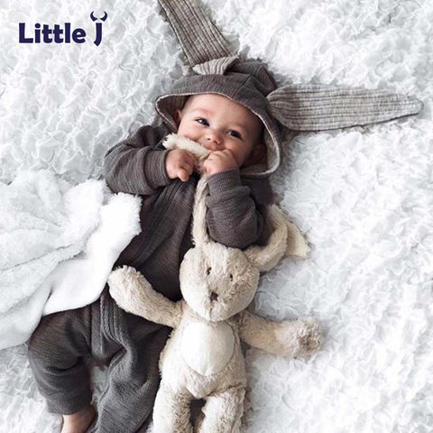 Little J Baby Warm Bunny Ear Rompers Autumn Winter Infant Rabbit Style Jumpsuit Cotton Boys Girls Hare Playsuits Hooded Clothes - thefashionique