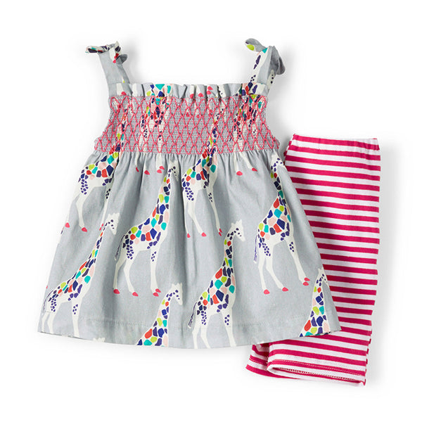 Little Maven Girls Smocked Stripe shorts + Sleeveless Tops Children Clothing Summer Printed Play Set 2 Pieces Set Girls Clothing - thefashionique