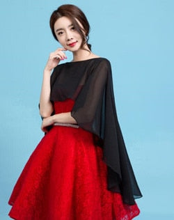Long Chiffon Cape Shawl Wedding Jacket Women Shrug Bolero Wraps Black Off White Red One Size Etole Mariage Bolero Mariage - thefashionique