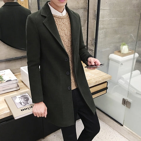 Long Coat Mens Pink Mens Trench Coat Mens Winter Long Coats Slim Fit Manteau Long Homme Green Woolen Casual Vintage Men Clothing