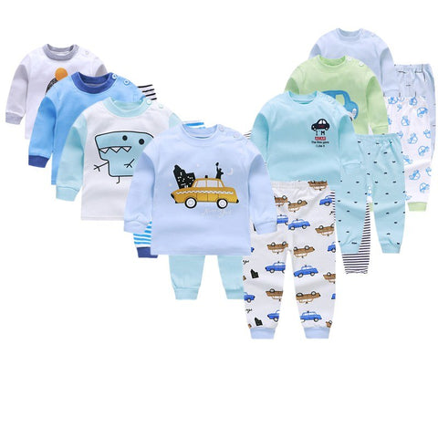 Long Sleeve Baby Boy Clothing Sets Fall Autumn Cotton Top +Pant Car Dinosaur Newborn Suits Infant Toddler Outfit Striped Pajamas