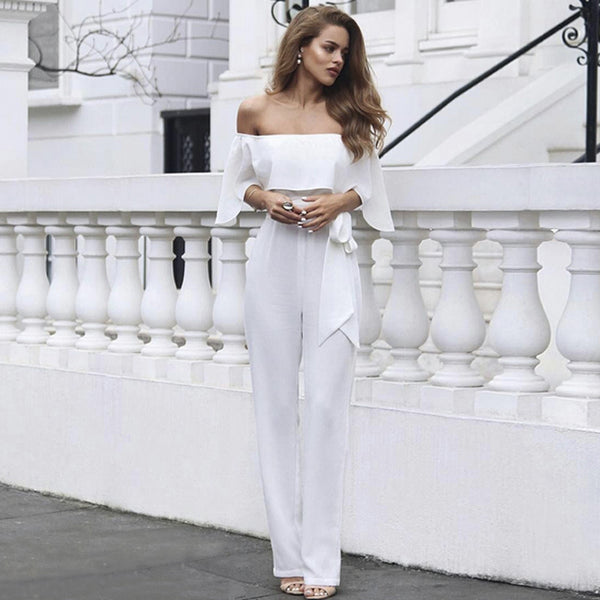 Loose Strapless Solid Jumpsuit Women Romper Ruffles Solid Playsuits Short Sleeve One Piece White Oversized Women Clothing - thefashionique