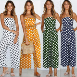 Lossky Polka Dot Camisole Jumpsuit Women Rompers Summer Woven Strapless Belted Wide Leg Pants Jumpsuit Casual Overalls Femme - thefashionique