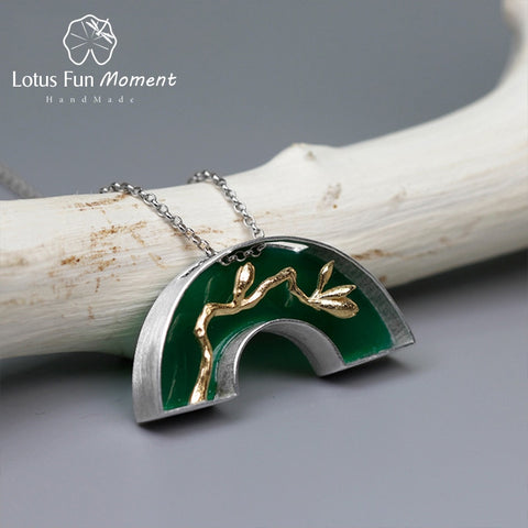 Lotus Fun Moment Real 925 Sterling Silver Fashion Jewelry Classic Oriental Element Arch Bridge Design Pedant without Necklace - thefashionique