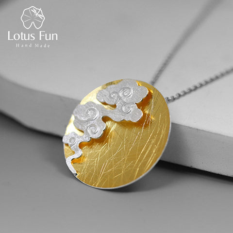 Lotus Fun Real 925 Sterling Silver Fine Jewelry Creative Design Oriental Element Vintage Cloud Round Pendant without Necklace - thefashionique