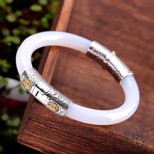 LouLeur 925 Sterling Silver Jade Bangles Ethnic White Handmade Natural Jade Bangles Can be Opened Fashion Jewelry Women Bracelet