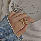 LouLeur 925 sterling silver weave mesh rings gold simple element design wild elegant rings for women fine jewelry for charm gift - thefashionique