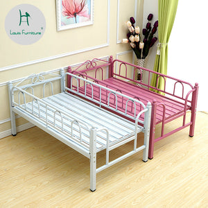 Louis Fashion Children's Bed Guardrail Boy Girl Princess Widening Stitching Combination Single Pink