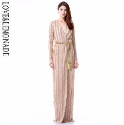Love&Lemonade Sexy  Stripes Cross V Collar Body Maxi Dresses Green/Silver/Gold/Black/Red LM0266 - thefashionique