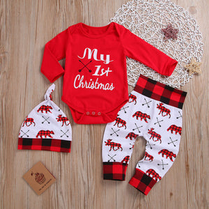 Lovely Kids Baby Girl Boy 0-18M My First Christmas Romper Pant Hat Outfits Xmas Set - thefashionique