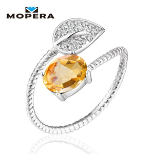 Lovely Leaf Natural Gemstone Citrine Rings For Women 925 Sterling Silver Wedding Engagement Jewelry Adjustable Fine Jewelry - thefashionique