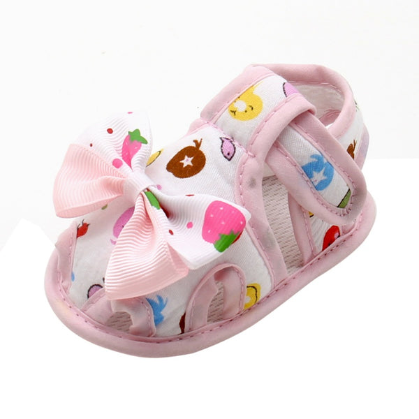 Lovely Summer Newborn Baby Girls Cute First Walkers Bow-knot Printed Princess Style Breathable Shoes Prewalkers 0-18M - thefashionique