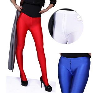 Low Waist Invisible Zipper Open Crotch Leggings Women Glossy Charming Exotic Pants Bodycon Shiny Pantyhose Sexy Boot Pant Capris - thefashionique