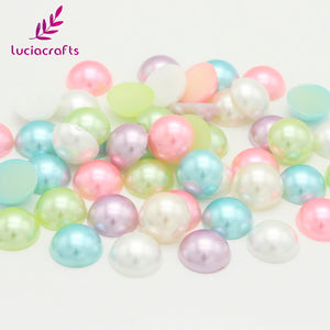 Lucia Crafts 24pcs 12mm ABS Half Round Pearls Flatback Garment Handmade DIY Art Phone Sewing Accessories 15011260(12HS24) - thefashionique