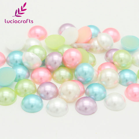 Lucia Crafts 24pcs 12mm ABS Half Round Pearls Flatback Garment Handmade DIY Art Phone Sewing Accessories 15011260(12HS24)