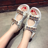 Lucyever Fashion Rhinestone Women Sandals Brand Design 2019 Summer Crystal Shoes Woman flat Platform Open Toe Sandalias Mujer - thefashionique