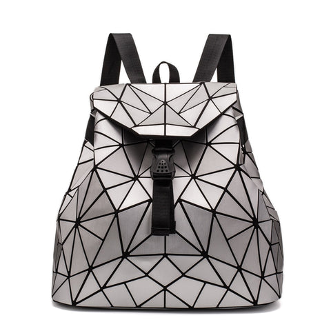 Luminous Backpacks 2018 New Womens Backpack Geometry Bag Students School Bags Rucksack Drawstring Holographic Backpack Mochila - thefashionique