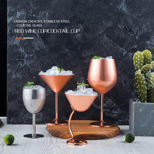 Luxury Cocktail Glass Goblets Martini Cup Wine Juice Champagne Goblet Rose Gold Silver Party Barware Dinner Creative Cup 400ML - thefashionique