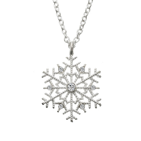 Luxury Crystal Snowflake Pendants&Necklaces Fashion Silver Plated Chain Necklace Gift For Women Female Jewelry Shellhard - thefashionique