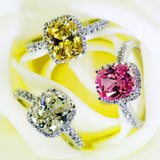 Luxury Female Girl Crystal CZ Stone Ring Boho 925 Silver White Pink Yellow Ring Promise Engagement Rings For Women - thefashionique