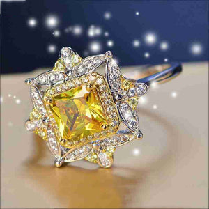 Luxury Flower White Crystal Bridal Wedding Engagement Cocktail Party For Women CZ Ring Jewelry Wholesale