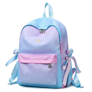 Luxury Gradient Color Women Backpack High Quality Waterproof Nylon Girl's School Backpack Iridescence Satchel Book Backpack - thefashionique