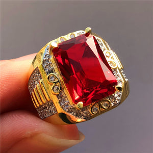 Luxury Male Big Red Stone Ring Fashion Yellow Gold Geometric Finger Ring Vintage Wedding Engagement Rings For Men - thefashionique