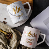 Luxury Marble Bronzing Word Ceramic Mugs Gold Plating MRS MR Couple Lover's Gift Morning Mug Milk Coffee Breakfast Creative Cup - thefashionique