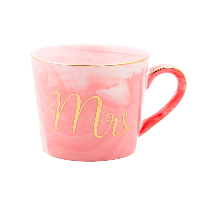 Luxury Marble Ceramic Mugs Gold Plating MRS MR Couple Lover's Gift Morning Mug Milk Coffee Tea Breakfast Cup Wedding decoration - thefashionique