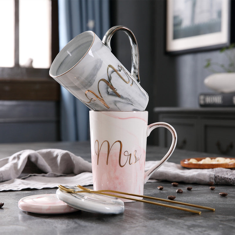 Luxury Marble Pattern Ceramic Mugs Gold Plating MRS MR Couple Lover's Gift Morning Mug Milk Coffee Tea Breakfast Creative Cup - thefashionique