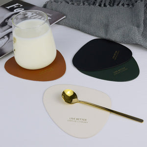Luxury PU Leather Coaster Oval Cup Mat Gold Gold Plating Letter Waterproof Heat Insulation Pad Hot Drink Holder Home Decoration - thefashionique