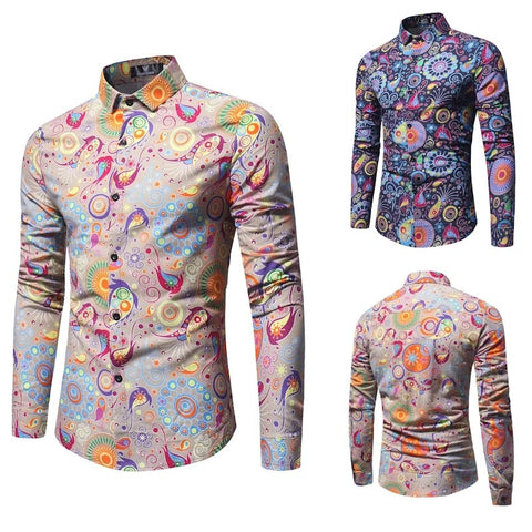 6bdddab84999 Luxury Print Shirt Men Palace Style Floral Printed Long Sleeve Slim Fit  Casual Mens Party Dress