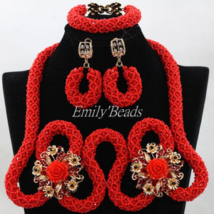 Luxury Red Indian Bridal Costume Jewelry Set African Wedding Nigerian Crystal Beads Jewellery Set 2016 Hot Free Shipping ALJ318