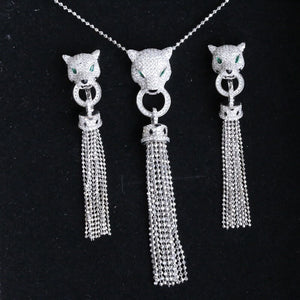 Luxury Tassel AAA Zircon 925 Sterling Silver Leopard Necklace Cuff Earring Jewelry Set AP* Animal Necklace Women Wedding Set