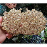 Luxury Women Gold Rose Flower Hollow Out Crystal Evening Bag Clutches Small Minaudiere Handbag Purse Wedding Box Clutch Bag A28