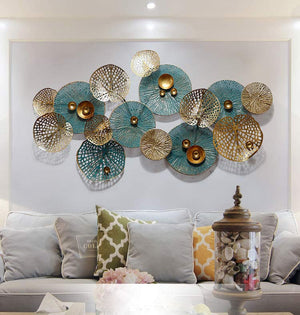 Luxury wall decor ornaments home living room sofa background wall decoration metal iron 3D stereo artificial flower wall pendant