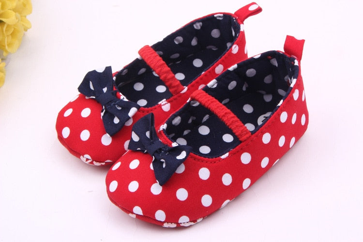 Lytwtw's Baby Shoes Prewalker Toddlers First Walkers Newborn Girls Footwear Infant Sneakers Dot Bowknot Moccasins Princess - thefashionique